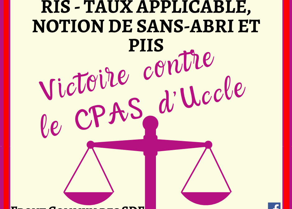 "FLASH JURISPRUDENCE : ""RIS – Taux applicable, notion de sans-abri et PIIS"""